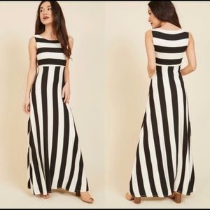 ModCloth Black and White Striped Maxi Dress